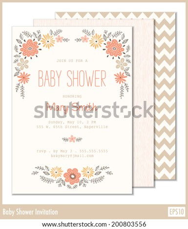 Elegant garden leafs copper color design stock vector 441733618 floral baby shower invitation can also be used as a stationary for weddings anniversaries stopboris Images