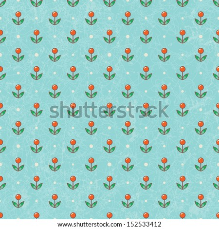 Floral baby wallpaper in retro style. EPS 10 vector illustration. CMYK. Contains grunge texture with opacity and blending mode. - stock vector