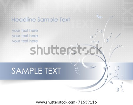 Floral background - abstract flower card design - white, blue, light gray - vector, eps10 - stock vector