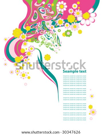 Floral background. All elements and textures are individual objects. Vector illustration scale to any size.