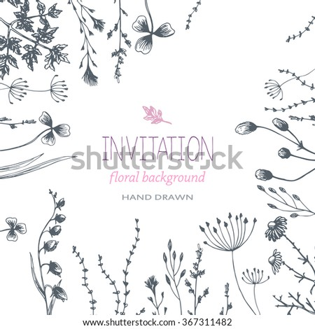 Floral background herbs invitation drawing hand stock vector hd floral background and herbs invitation drawing hand design for cards wedding invitation stopboris