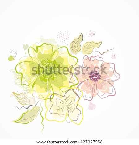 Floral background. Bouquet of beautiful flowers. - stock vector