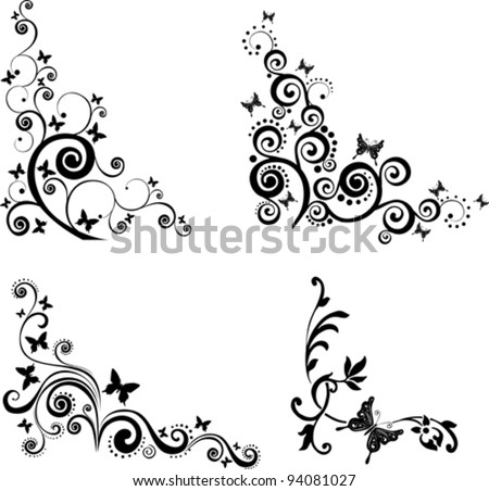 Floral background. Collection of design elements isolated on White background. Vector illustration - stock vector