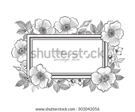 Floral background. Flower bouquet vintage cover. Flourish card with copy space. - stock vector
