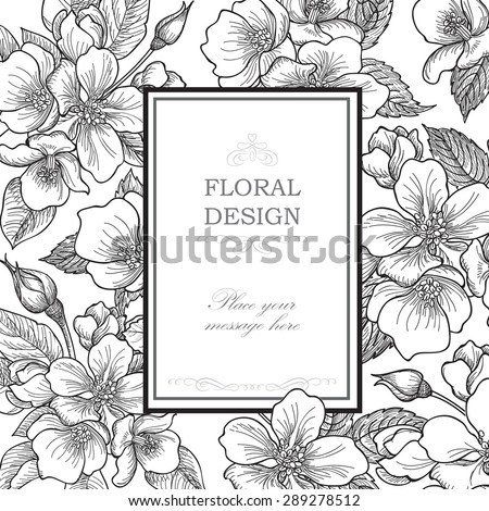 Floral background. Flower bouquet vintage cover. Flourish card with copy space. Gentle spring apple tree blooming flowers greeting card. - stock vector