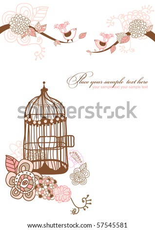 floral background for your text.you can use this card like wedding or birthday invitation. - stock vector
