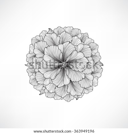 Floral background. Greeting card with flower. Flourish border. Gentle decor with summer flower dahlia. Black and white vector illustration - stock vector