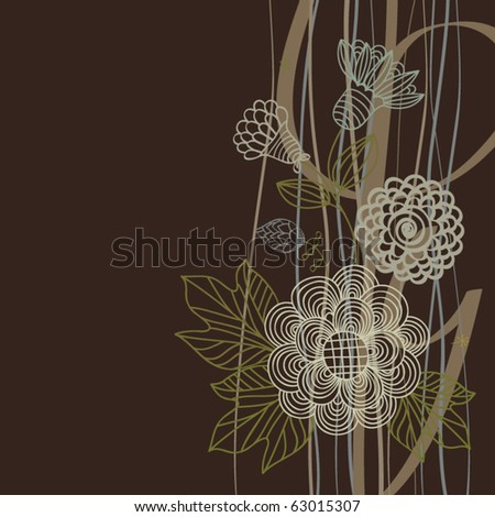 Floral background in dark colors - stock vector