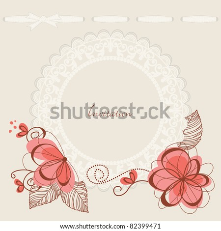 Floral background lace frame - stock vector