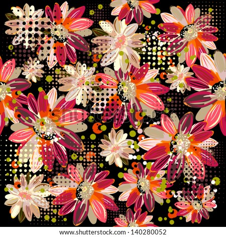 Floral background of  gerbera - stock vector