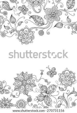 Floral background. Ornate floral elements for your design with free place for your text.  - stock vector