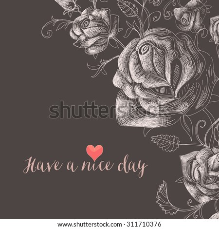 Floral background, roses decorative corner - stock vector