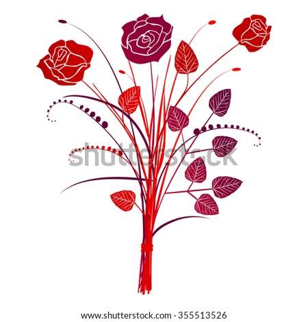 Floral background roses, vector illustration - stock vector