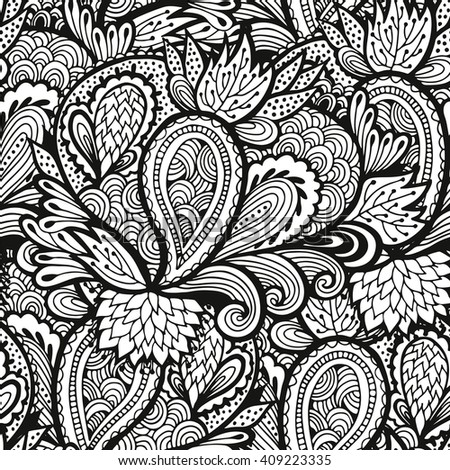 Floral Background Seamless Flower And Leaves Pattern Black White Vector Texture