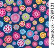 Floral background, seamless pattern with colored flowers - stock vector