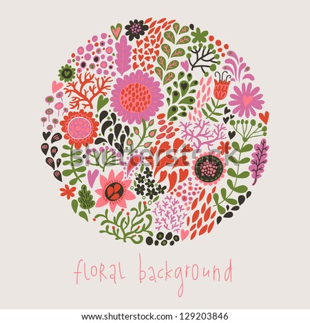 Floral background. Stylish cartoon element made of leafs and flowers - stock vector