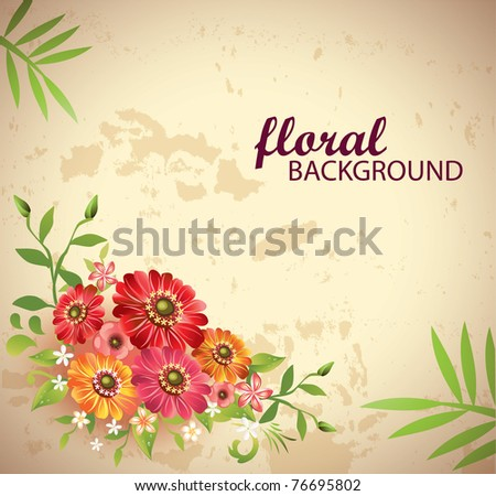Floral background-Vector - stock vector