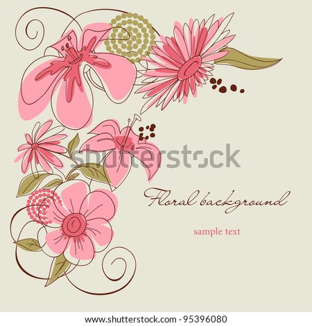 Floral background vector illustration - stock vector