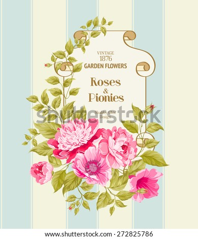Floral Background. Vintage Label. Vector illustration.