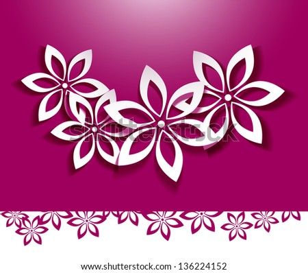 Floral background. White flowers over pink - stock vector