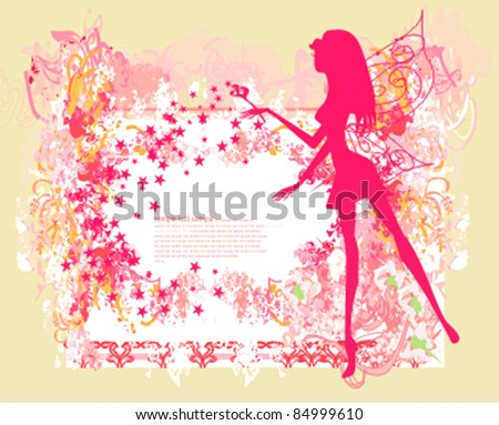 floral background with a beautiful fairy - stock vector