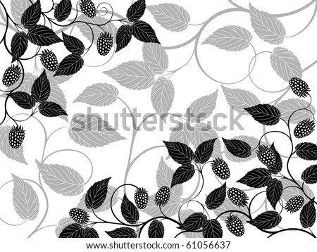 Bramble Bush Drawing Floral Background With a