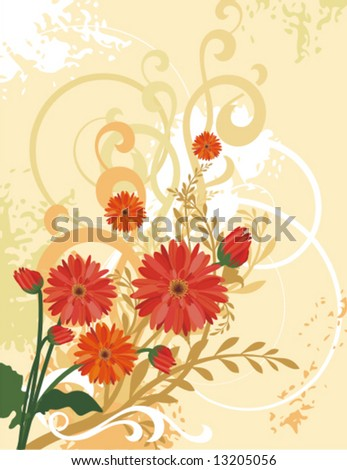 Floral background with a bunch of flowers and grunge details, vector illustration series.
