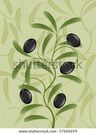 Floral background with an olive branch . Vector illustration. - stock vector