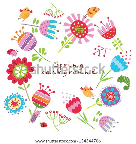 Floral background with birds and flowers - stock vector