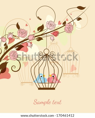 Floral background with birds in a cage and hearts