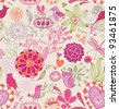 Floral background with birds. seamless pattern in vector - stock vector