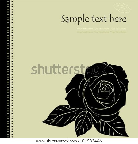 Floral background with black rose, vector illustration - stock vector