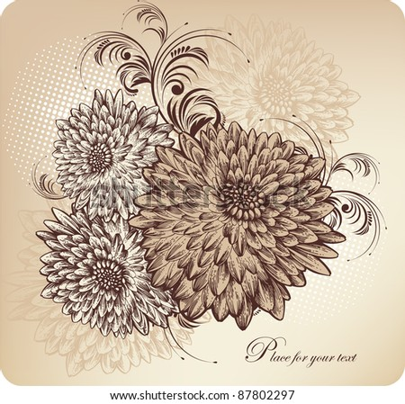 Floral background with blooming chrysanthemums, hand drawing.