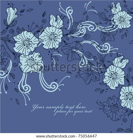 floral background with blooming flowers and bright swirls - stock vector