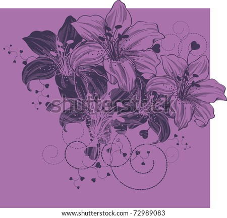Floral background with blooming lilies and heart - stock vector