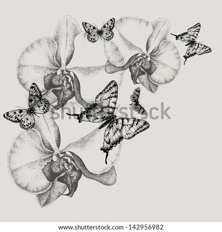 Floral background with blooming orchids and butterflies, hand-drawing. Vector illustration. - stock vector