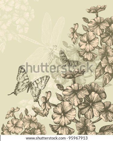 Floral background with blooming phlox and flying butterflies, hand-drawing. Vector.