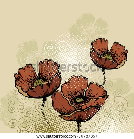 floral background with blooming poppies - stock vector
