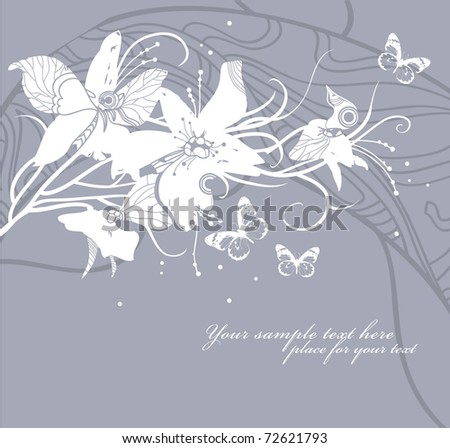 floral background with bright flowers and butterflies - stock vector