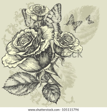 Floral background with butterflies and roses, hand-drawing. Vector illustration. - stock vector