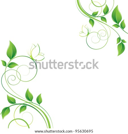 Floral background with butterflies. Element for design. - stock vector