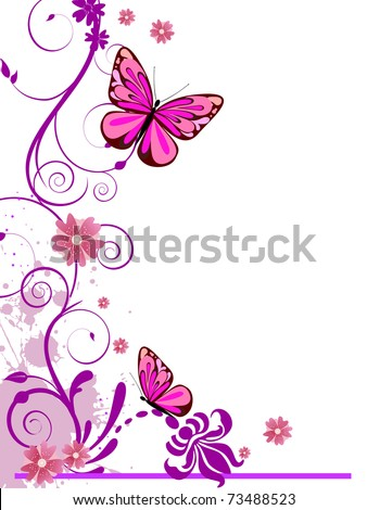 floral background with butterflies - vector - stock vector