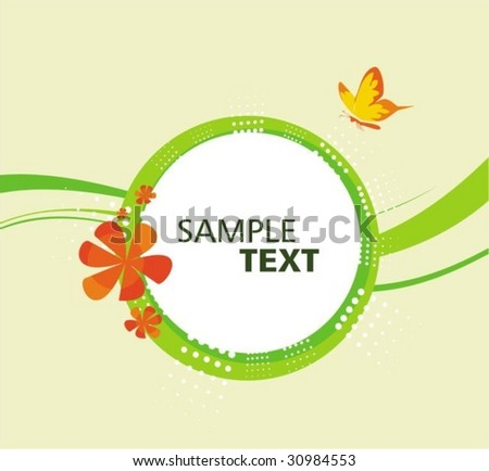 Floral background with butterfly - stock vector