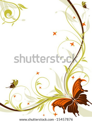 Floral background with butterfly and wave pattern, element for design, vector illustration