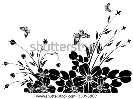 Floral Background with butterfly, element for design, vector illustration