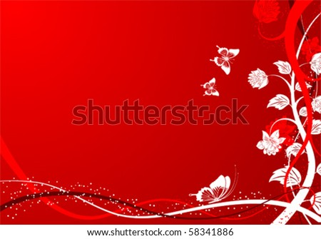 Floral Background with butterfly, element for design, vector illustration - stock vector