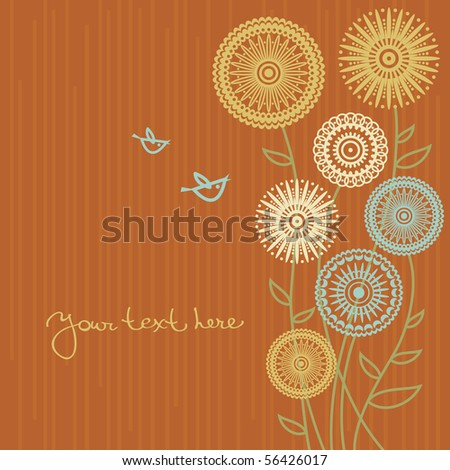 Floral background with cartoon birds - stock vector