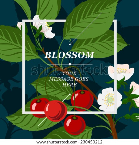 Floral background with cherry berries and cherry blossom branch, vector illustration.  - stock vector