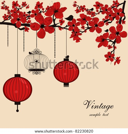 floral background with chinese lanterns and birdcage - stock vector