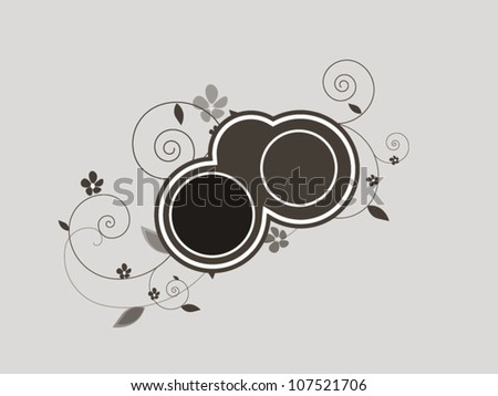 Floral background with circles for text in vector